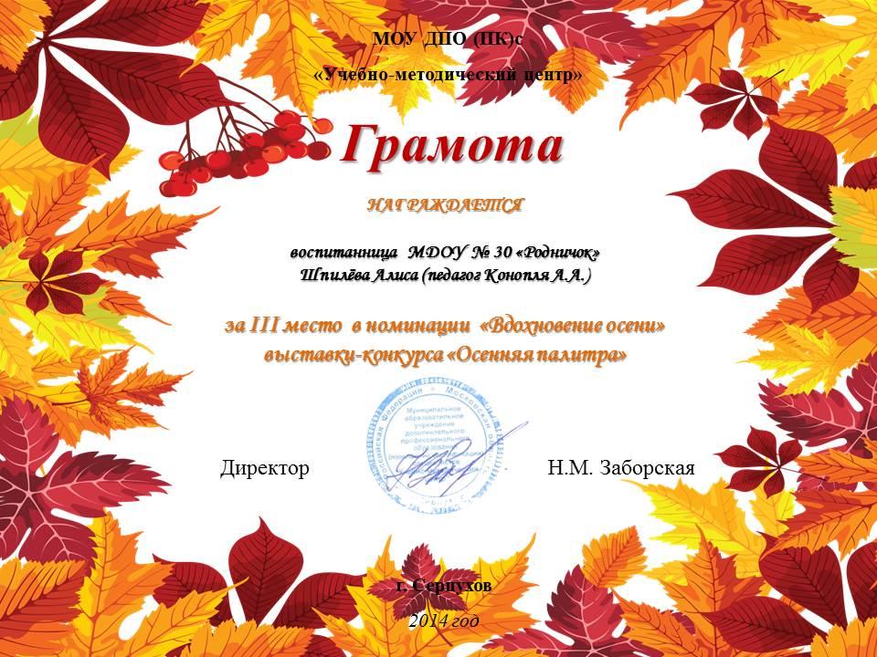 Сертификат за участие в конкурсе осенние фантазии